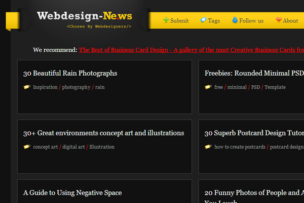 submitted design news aggregator published blog posts