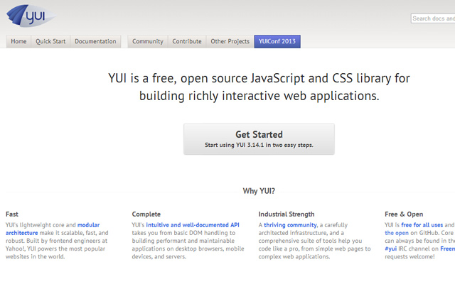 yahoo user interface library javascript homepage