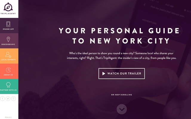 purple nyc guide app triplagent website