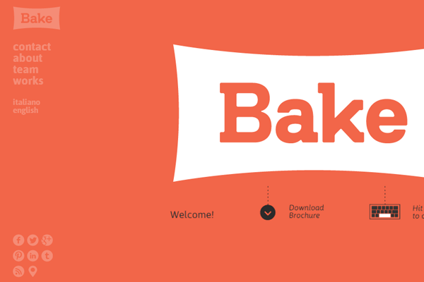 Orange design agency bake website layout