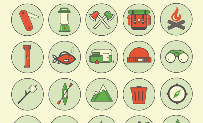 circle camping iconset freebie vector