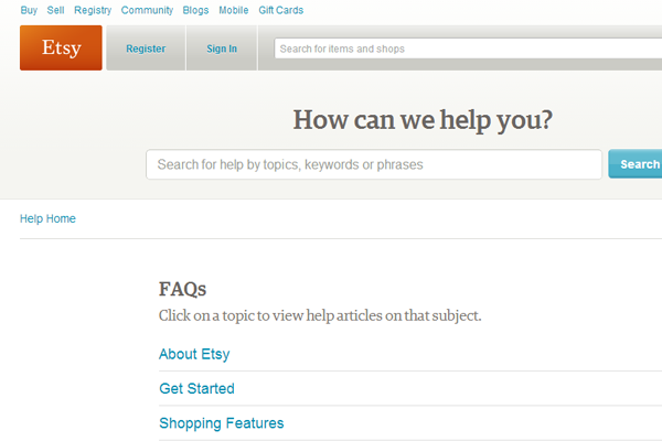 Etsy online support system shopping ecommerce