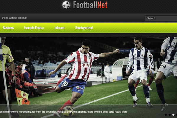 FootballNet website design layout freebie WordPress theme