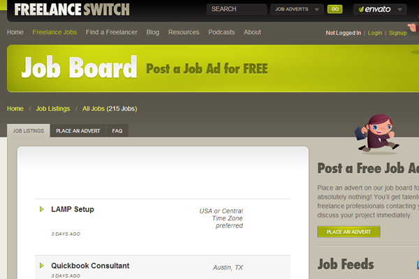 freelanceswitch job board layout interface