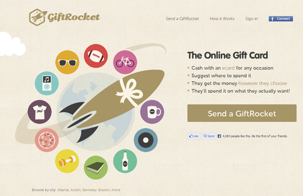 startup giftrocket website webpage layout inspiration