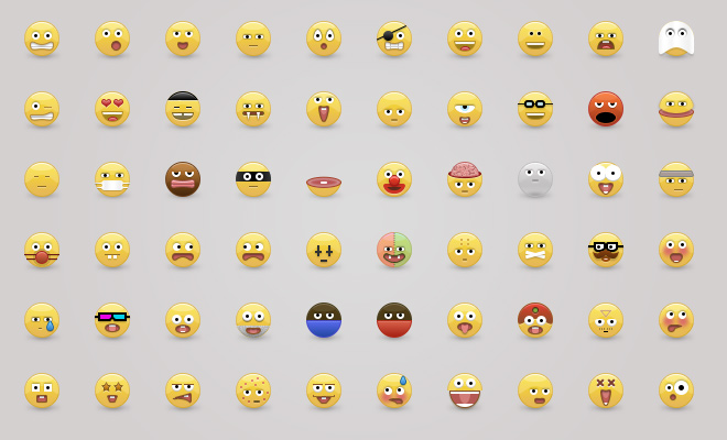 yellow glossy emoticons