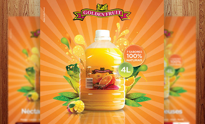 golden fruit drink advertisement poster