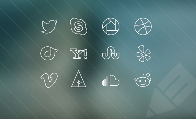ultra thin social icons freebie set