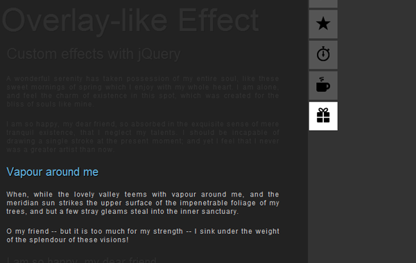 Overlay effect with JavaScript and jQuery
