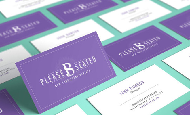 please b seated purple business card branding
