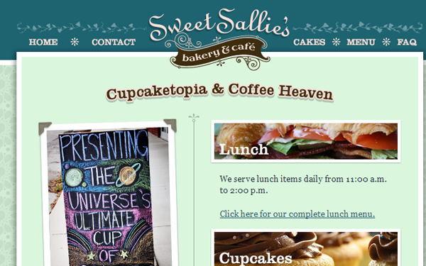 sweet sallys bakery website interface sweets