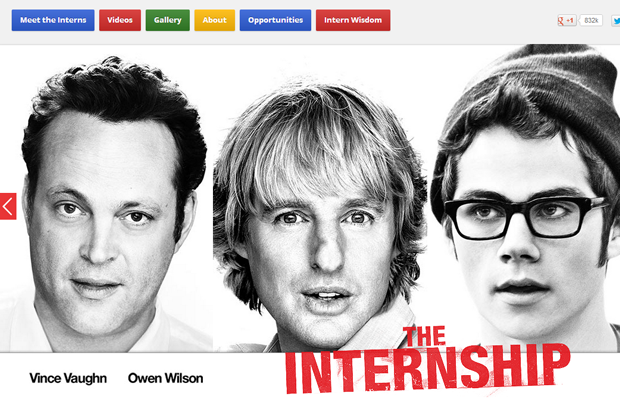 the internship movie website layout