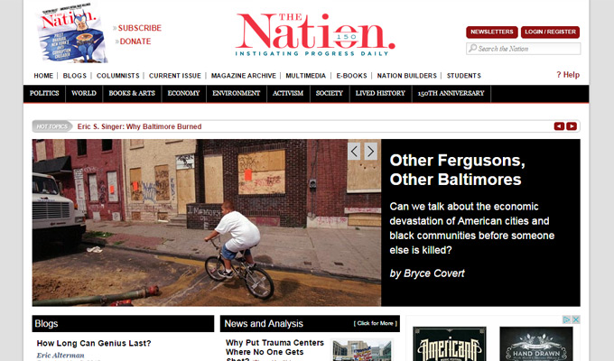 the nation website homepage