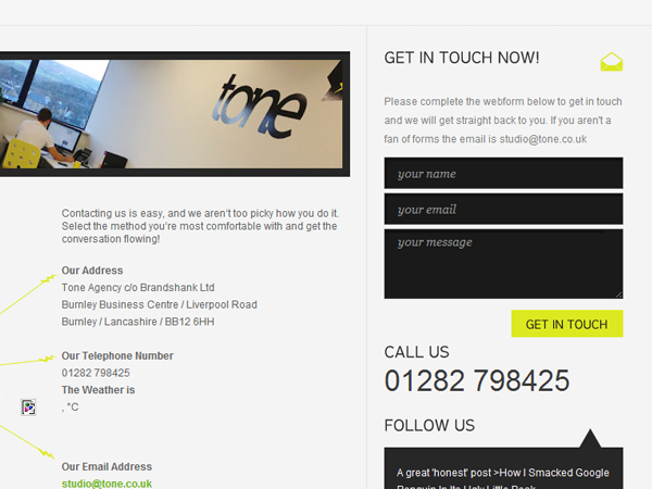 Tone Agency web design London contact form