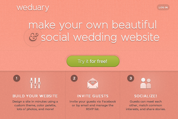 Weduary web 2.0 landing page