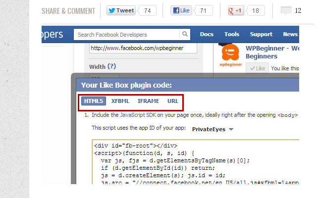 facebook like box in wordpress