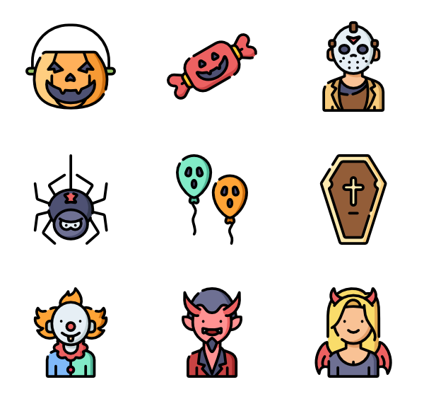 halloween design elements vector icon set