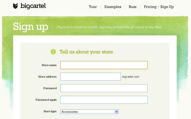 bigcartel signup register new account