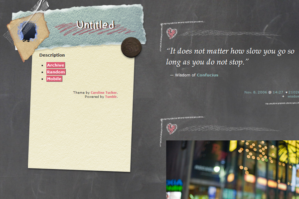 Tumblr theme design Chalkdust