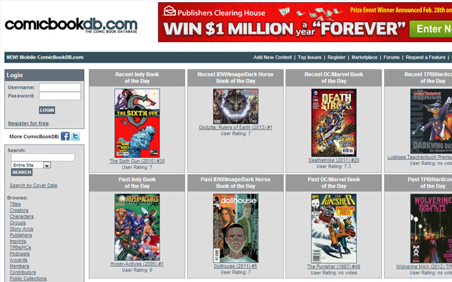 comic book database website digital catalog online