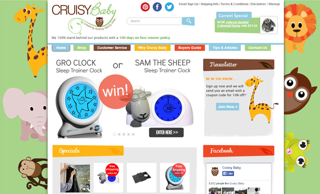 cruisy baby gear ecommerce shop