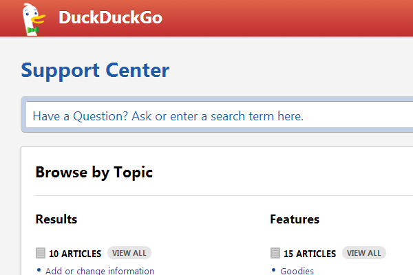 DuckDuckGo Search Engine FAQ Wiki design pages