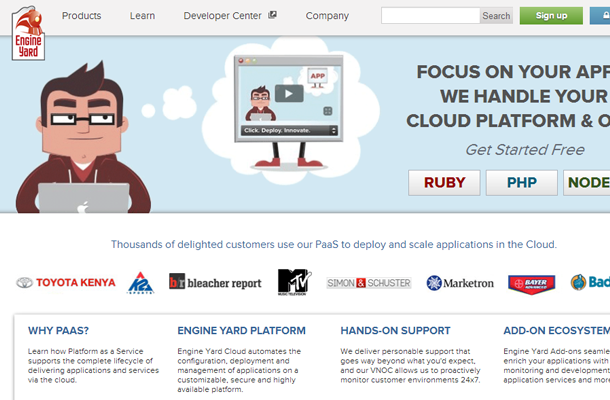 ruby rails service as a platform homepage startup