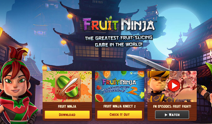 fruit ninja website homepage