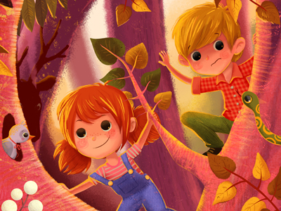 kids on an adventure illustration drawing