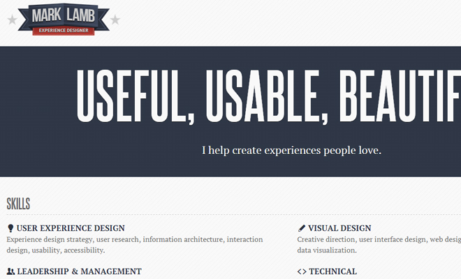 mark lamb user experience designer website layout