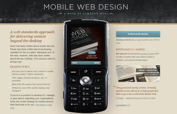 mobile phone design development book landing webpage