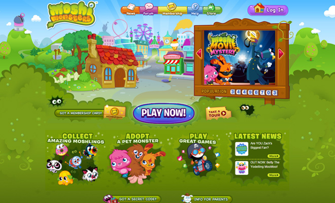 moshi monsters green vector website homepage layout