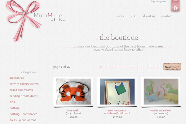 MumMade website ecommerce handmade presents