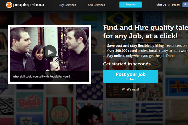 people per hour website job board interface