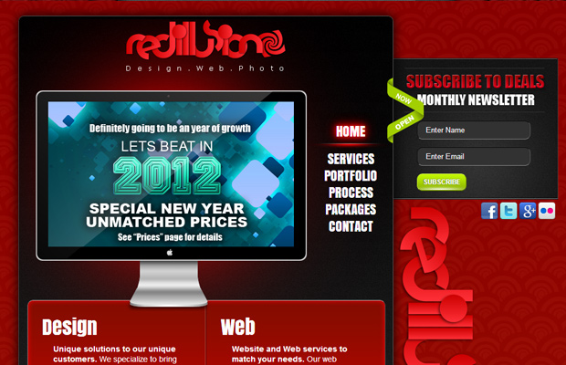 red illusion web design inspiration homepage