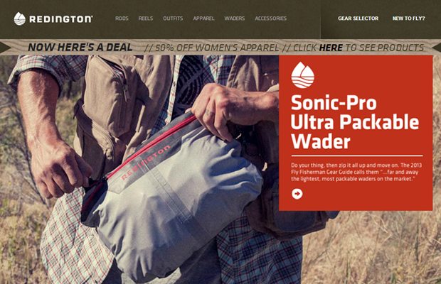 redington fly fishing brown website layout