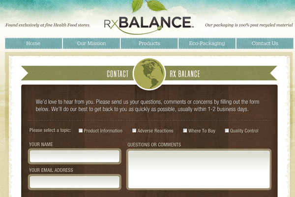 rxbalance website contact form inspiring designs