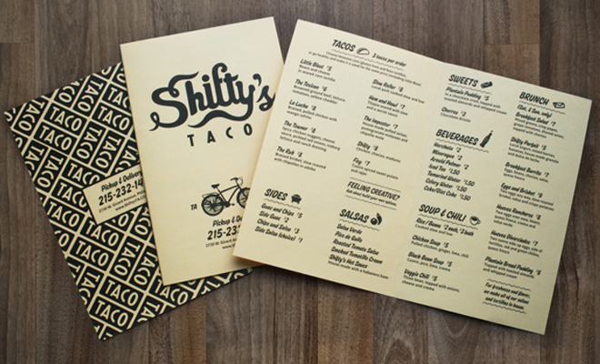 shifty taco menu print branding work