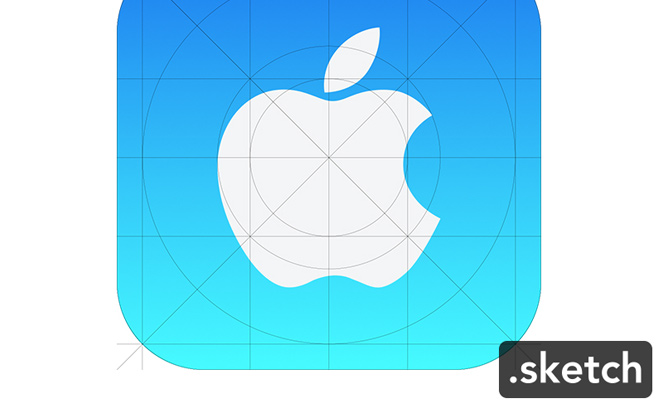 blue apple ios7 app icon freebie sketch