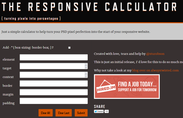 the responsive web design calculator website layout