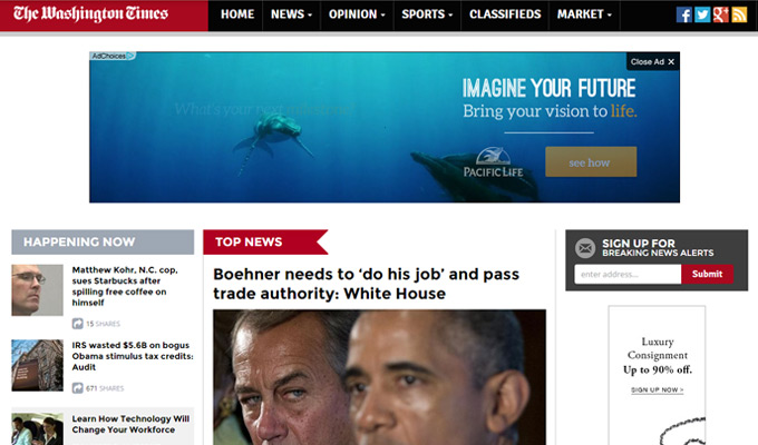 washington times website homepage