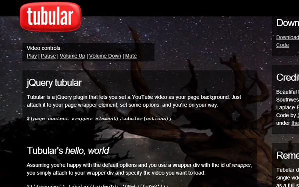 youtube background fullscreen jquery plugin