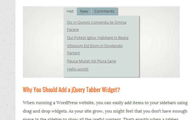 open source jquery tabber wordpress widget