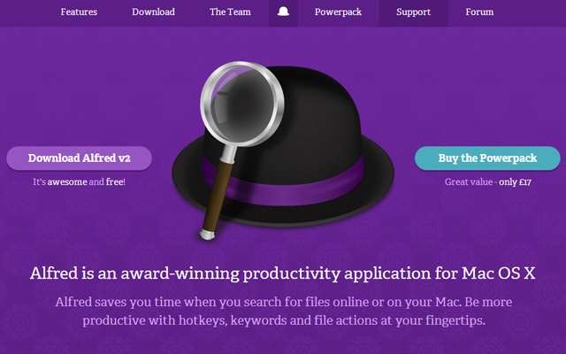 Mac Osx Alfred App Purple Website Layout