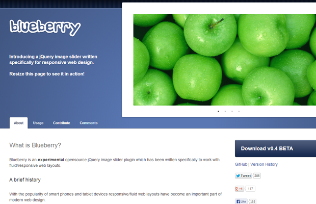 jquery image slider responsive blueberry plugin