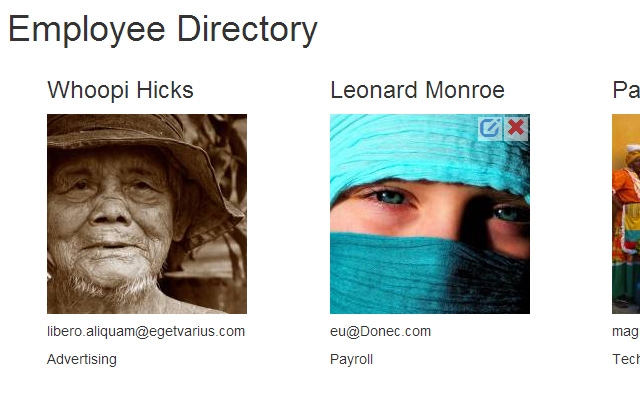css3 employee directory layout interface bootstrap