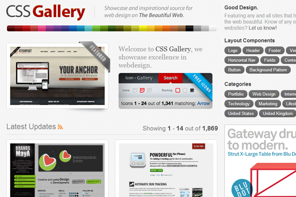 the css gallery homepage website inspiration
