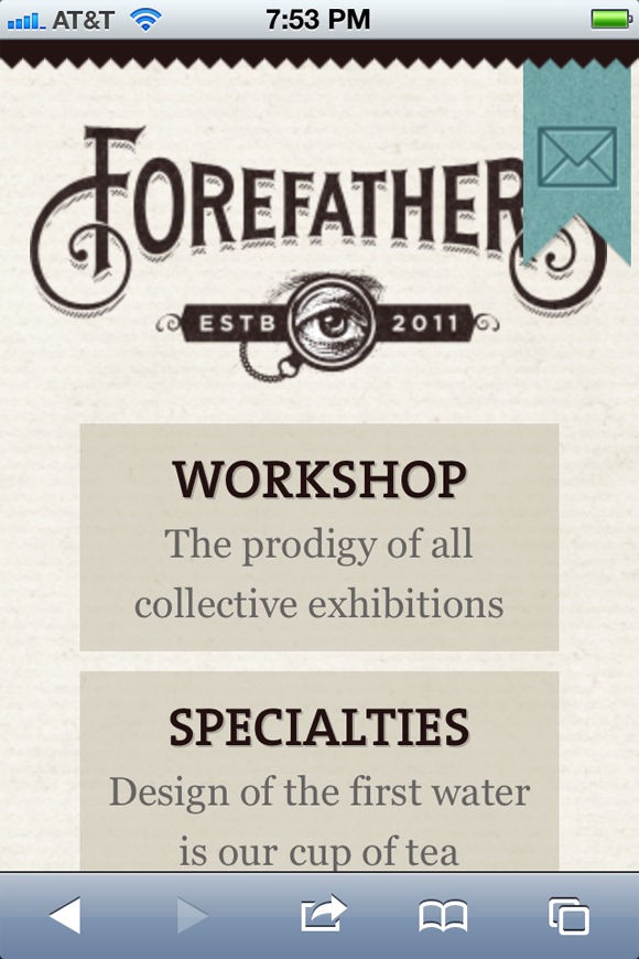 Mobile Safari responsive Forefather's group