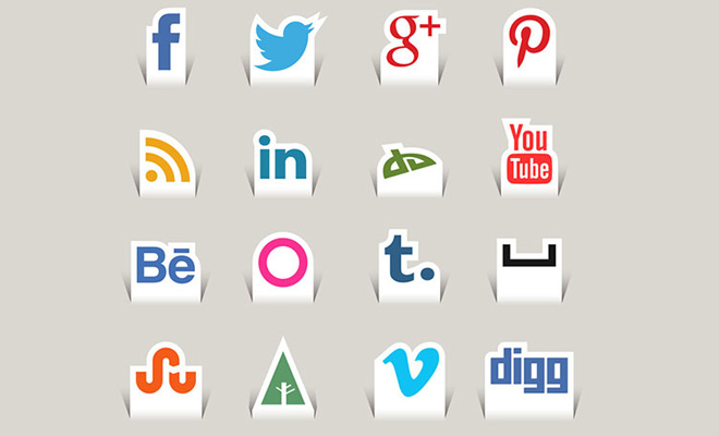 cut paper social media iconset