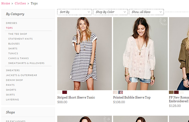 free people tops clothing ecommerce shop